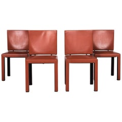 B & B Italia Arcara Leather Armchair Set 4x Chair