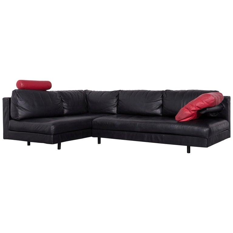 B & B Italia Designer Leather Corner Sofa Black Genuine Leather Sofa Couch