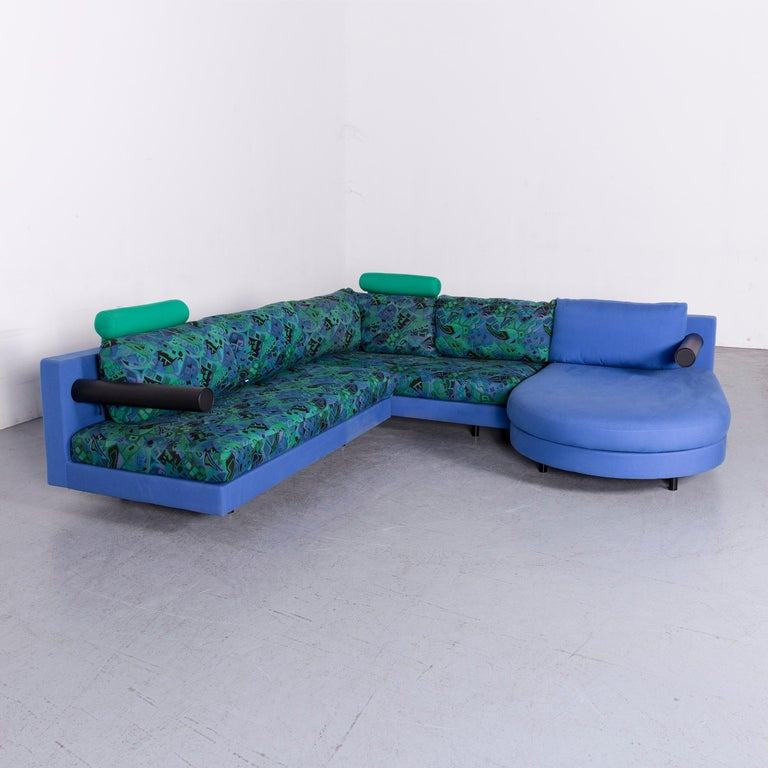 B & B Italia Sity Fabric Designer Sofa Blaues Muster Eckcouch