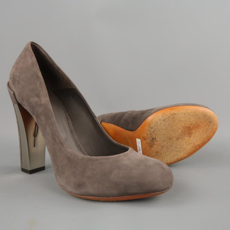 Gray B by BRIAN ATWOOD Size 7.5 Taupe Suede Metal Chunky Heel Pumps For Sale