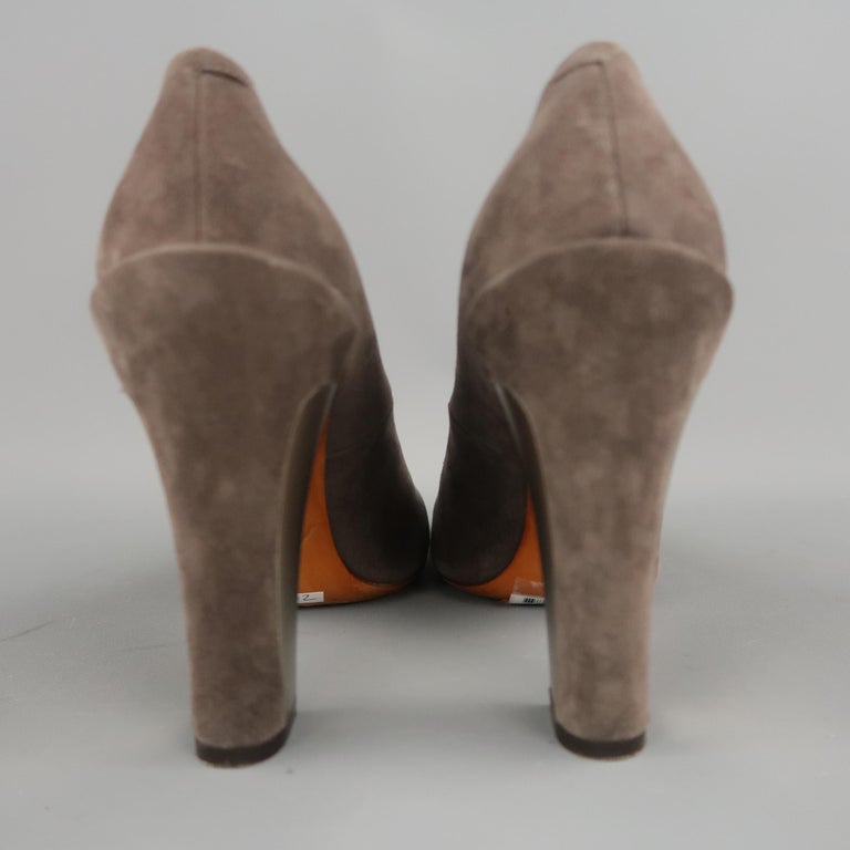 B by BRIAN ATWOOD Size 7.5 Taupe Suede Metal Chunky Heel Pumps For Sale 1