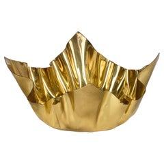 "B C Firenze Midcentury Italian ""Handkerchief"" Brass Centerpiece Bowl, 1970s"