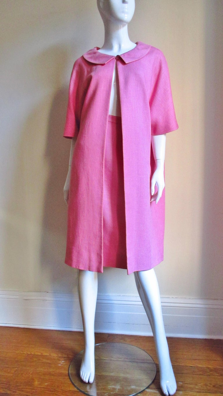 B H Wragge 1960s Linen Coat and Skirt For Sale 5