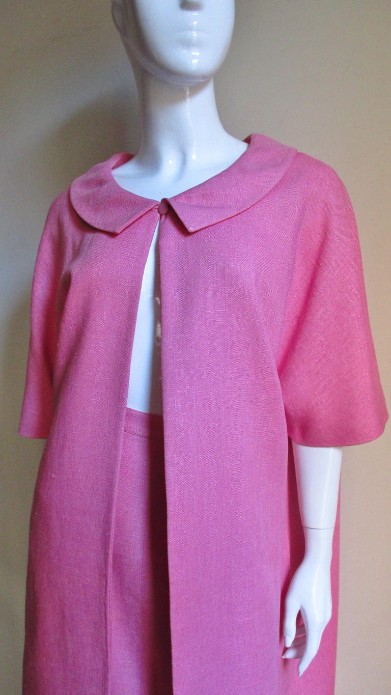 Purple B H Wragge 1960s Linen Coat and Skirt For Sale