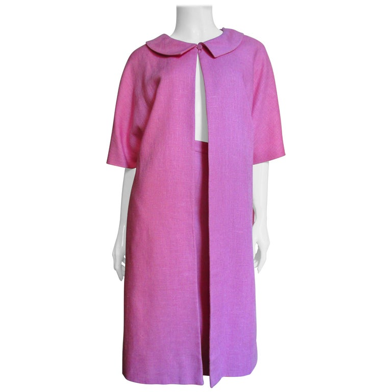 B H Wragge 1960s Linen Coat and Skirt For Sale