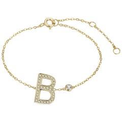 B Initial Bezel Chain Bracelet