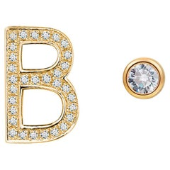 B-Initial Bezel Mismatched Earrings