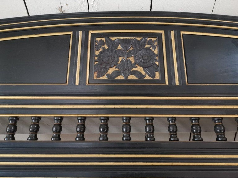 Ebonized B J Talbert Aesthetic Movement Carved & Gilt Wall Shelf with Mythical creatures For Sale