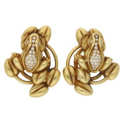 B Kieselstein Cord Diamond Frog Gold Earrings
