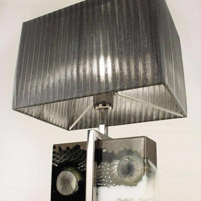 Other Table Lamp, Artistic Murano Glass Block Dark Grey Lampshade B-lock by Multiforme For Sale
