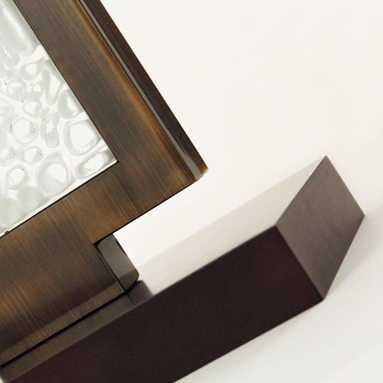 Italian Table Lamp, Artistic Murano Glass Block Dark Grey Lampshade B-lock by Multiforme For Sale