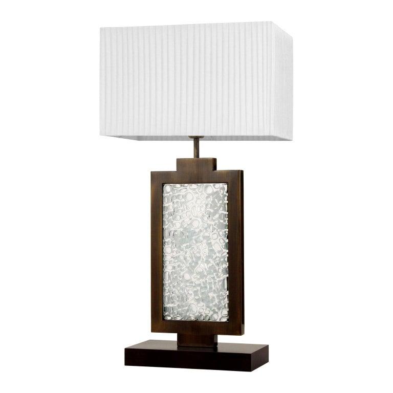 Table Lamp, Artistic Murano Glass Block Dark Grey Lampshade B-lock by Multiforme For Sale