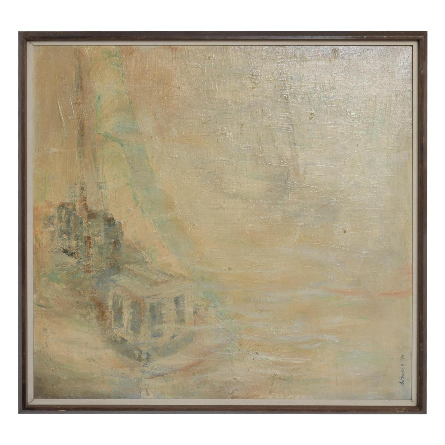B. Powers Abstract Oil Painting Midcentury Vintage Modern, 1970