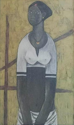 """Fisher Women Oil on Board , Mustard , Brown, White by B. Prabha """"In Stock"""""""