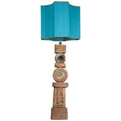 B. Rooke Ceramic Floor Lamp with Custom Made New Silk Lampshade by René Houben