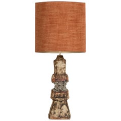 B. Rooke Ceramic Lamp with Custom Made Silk Lampshade by René Houben, 1960s