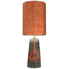 B. Rooke Ceramic Lamp with Custom Made Silk Lampshade René Houben, 1960s