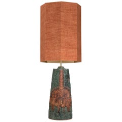 B. Rooke Ceramic Lamp with Custom Made Silk Lampshade René Houben, 1960s