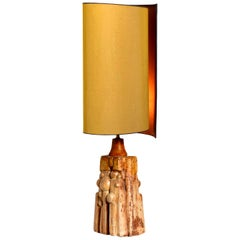 B. Rooke Ceramic Lamp with New Custom Made Silk Lampshade by René Houben, 1960s