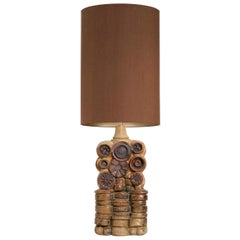 B. Rooke Ceramic Table Lamp with Custom Made New Silk Lampshade by René Houben