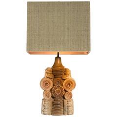 B. Rooke Ceramic Table Lamp with Custom Made Silk Lampshade René Houben, 1960s