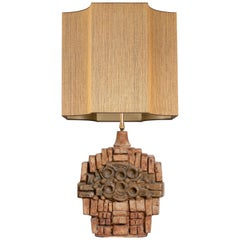 B. Rooke Large Ceramic Table Lamp with Custom Made Lampshade René Houben, 1960s