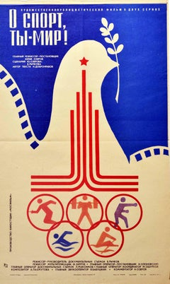 Original Vintage Film Poster Moscow Olympic Games 1980 Sport You Are Peace Dove
