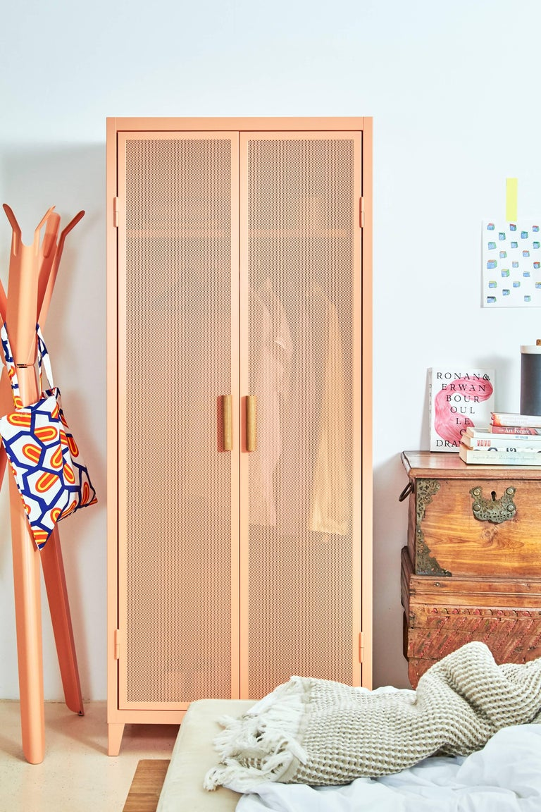Painted B2 Perforated Locker Wardrobe in Flamingo Pink by Chantal Andriot and Tolix For Sale