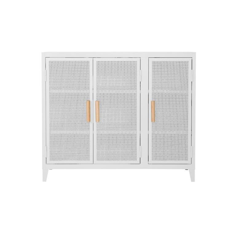 B3 Perforated Low Locker in White by Chantal Andriot and Tolix, US For Sale