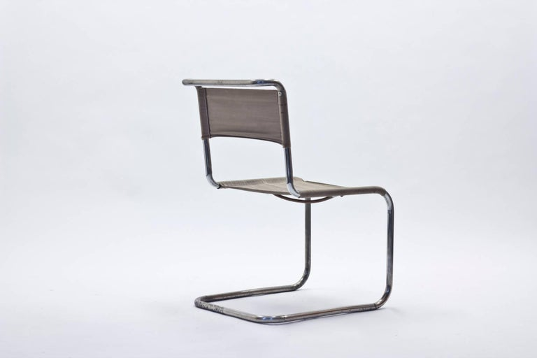 This chair is an early example of Marcel Breuers Classic B33 cantilever chair, with original