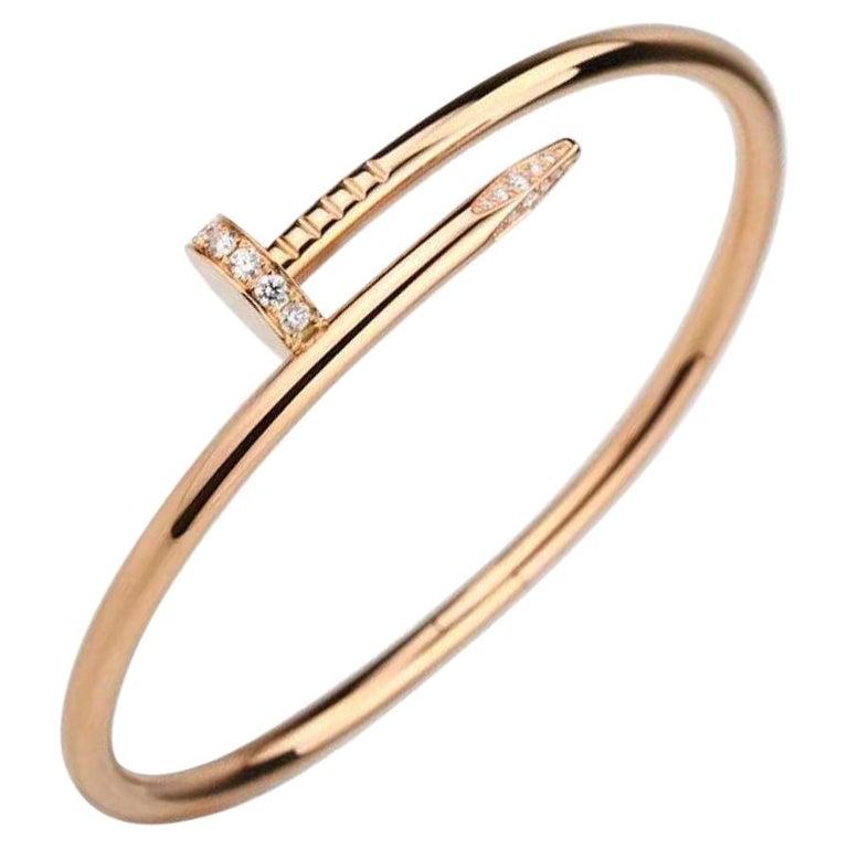 Cartier JUSTE UN CLOU Diamond Bracelet Rose Gold Size 17 For Sale