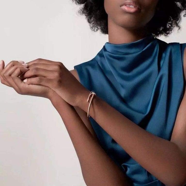 Cartier JUSTE UN CLOU Diamond Bracelet Rose Gold Size 17 For Sale 5