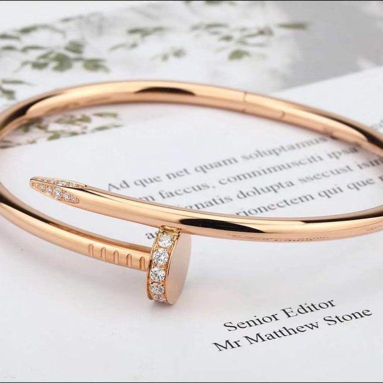 Brilliant Cut Cartier JUSTE UN CLOU Diamond Bracelet Rose Gold Size 17 For Sale