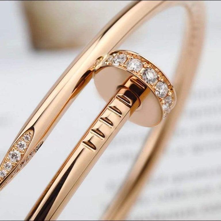 Women's or Men's Cartier JUSTE UN CLOU Diamond Bracelet Rose Gold Size 17 For Sale