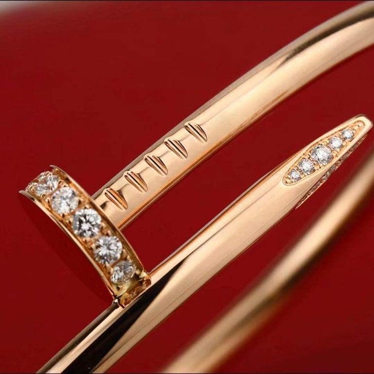 Cartier JUSTE UN CLOU Diamond Bracelet Rose Gold Size 17 For Sale 4