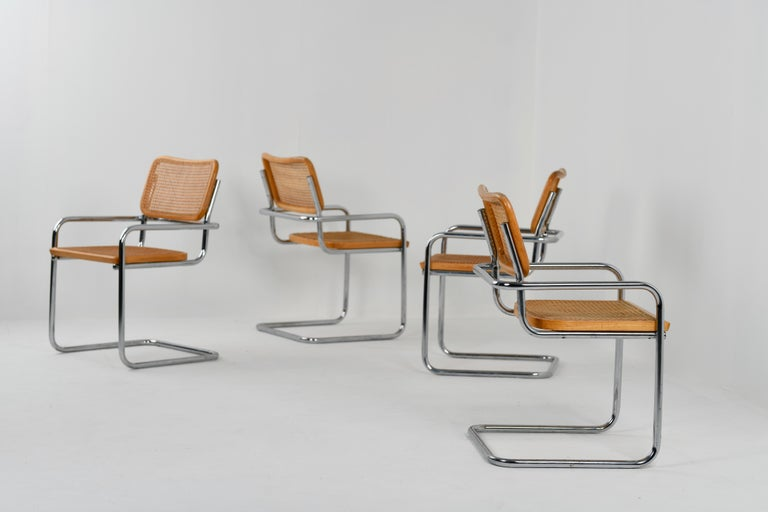 A rare B64 Cesca armchair variation, designed by Marcel Breuer and made by Gavina in Italy. The chrome frame for this type of armchair is special, based on one of Breuer's earlier prototypes of the Cesca chair, with the handles having a more