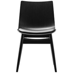 BA001S Preludia Wood Chair in Black Oak with Upholstered Seat by Brad Ascalon