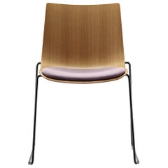 BA003S Preludia Sled Chair with Fabric Seat and Chrome Base by Brad Ascalon