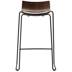 BA004S Preludia Bar Chair in Walnut Lacquer and Black Steel Base by Brad Ascalon