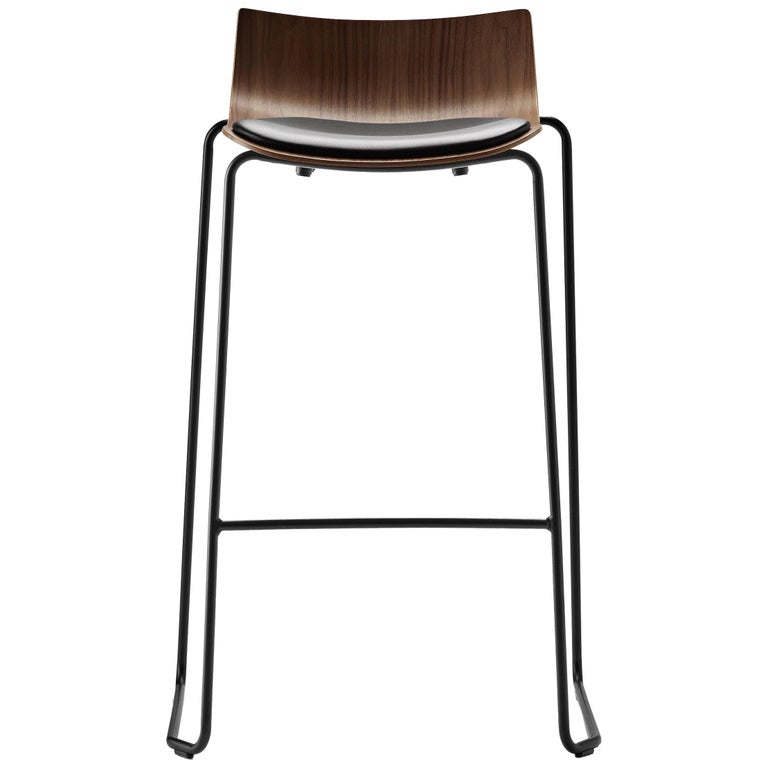 For Sale: Black (Thor 301) BA004S Preludia Bar Chair in Walnut Lacquer and Black Steel Base by Brad Ascalon