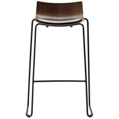 BA004S Preludia Bar Chair in Walnut Lacquer and Thor 301 Leather by Brad Ascalon