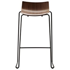 BA004T Preludia Bar Chair in Walnut Lacquer and Black Steel Base by Brad Ascalon