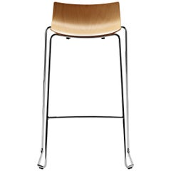 BA004T Preludia Bar Chair in Wood with Chrome Steel Base by Brad Ascalon