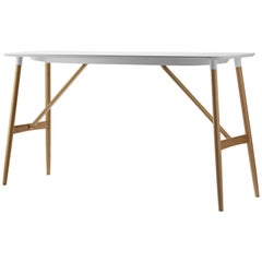 BA102 Large Preludia Bar Table in Wood and Top in White Laminate by Brad Ascalon
