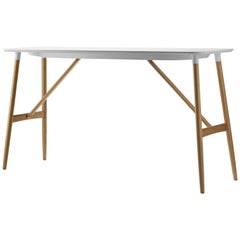 BA102 Small Preludia Bar Table in Wood and Top in White Laminate by Brad Ascalon