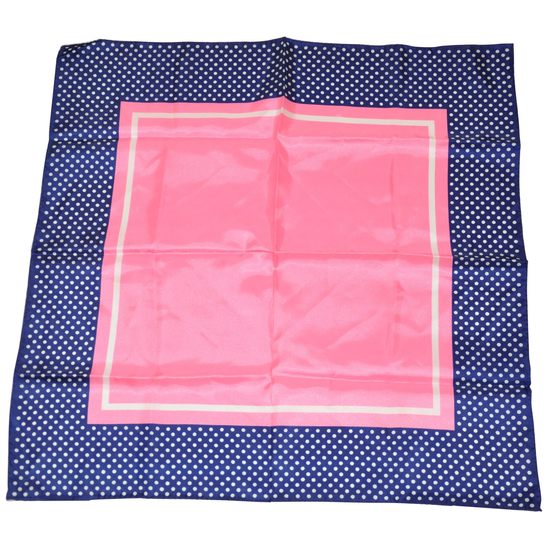 Baar & Beards Navy Polka Dot Borders with Bold Pink Center Scarf