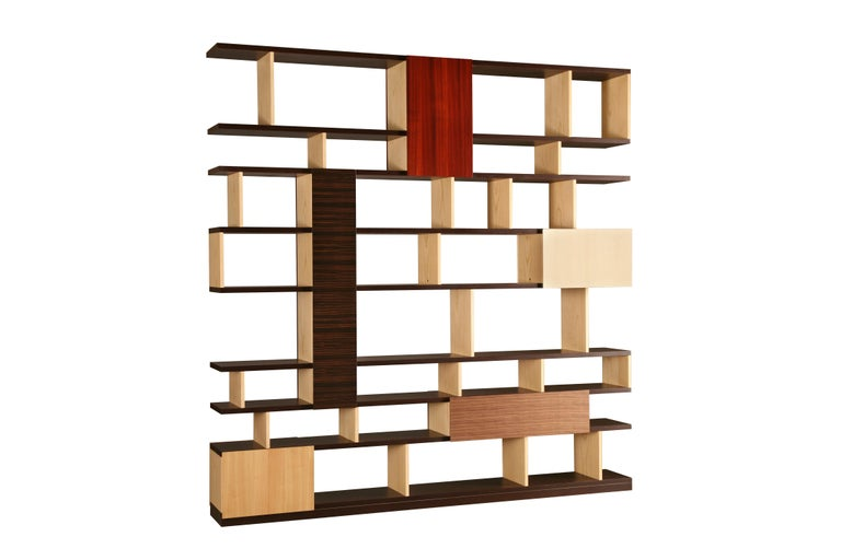 Italian Babilonia, Freestanding Bookcase with woods patchwork, deasign Maurizio Duranti For Sale