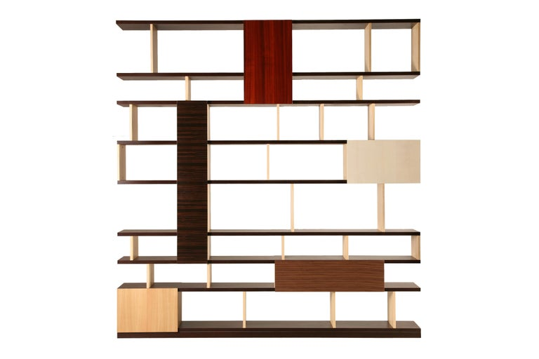 Contemporary style freestanding bookcase with doors made of wengé, ash, maple, cherry, ebony, walnut and padouk woods  The structure is made of ash and wengé.  Designed by Maurizio Duranti