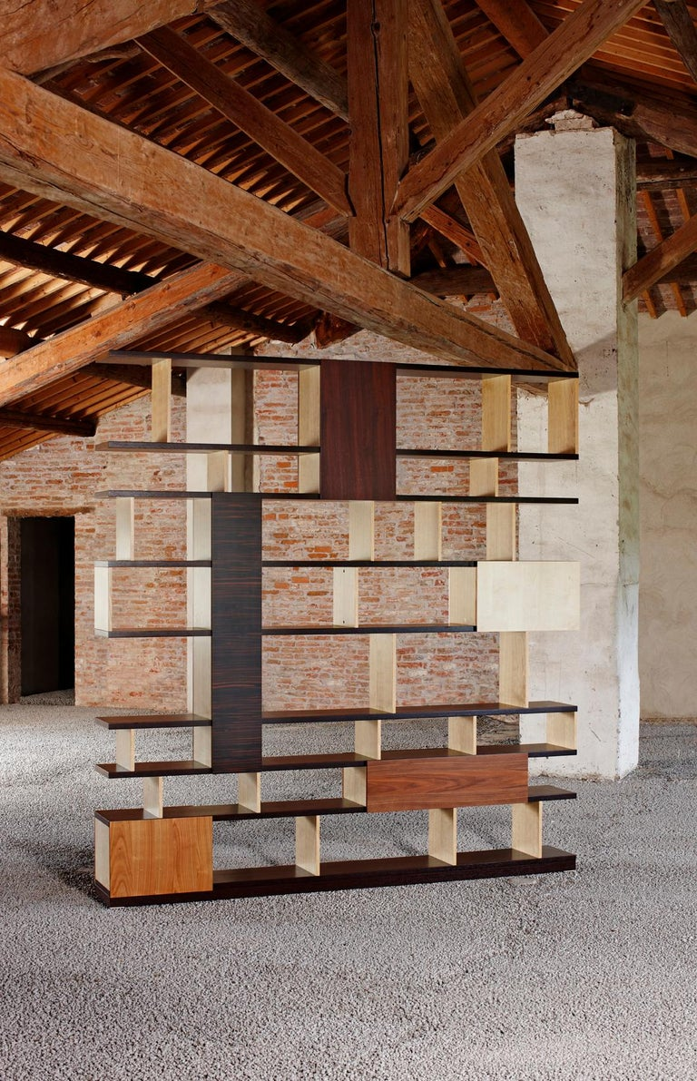 Hand-Crafted Babilonia, Freestanding Bookcase with woods patchwork, deasign Maurizio Duranti For Sale