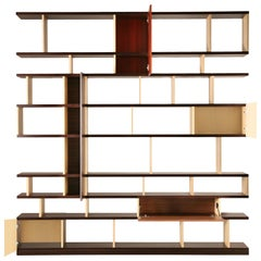 Babilonia, Freestanding Bookcase with woods patchwork, deasign Maurizio Duranti